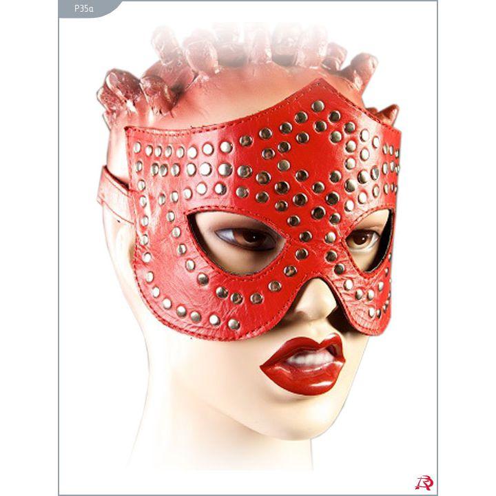 Стильная маска  в стиле БДСМ из натуральной кожи,  с заклепками, ручная работа, красная