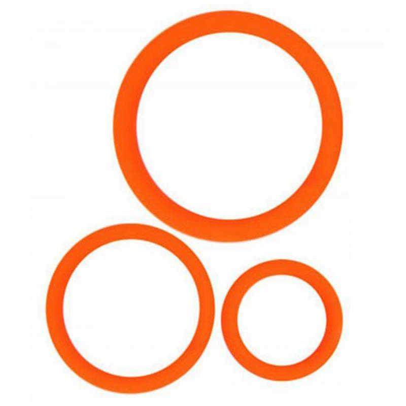 Набор колец 3 шт. силикон, оранжевые, 3,4,5 см