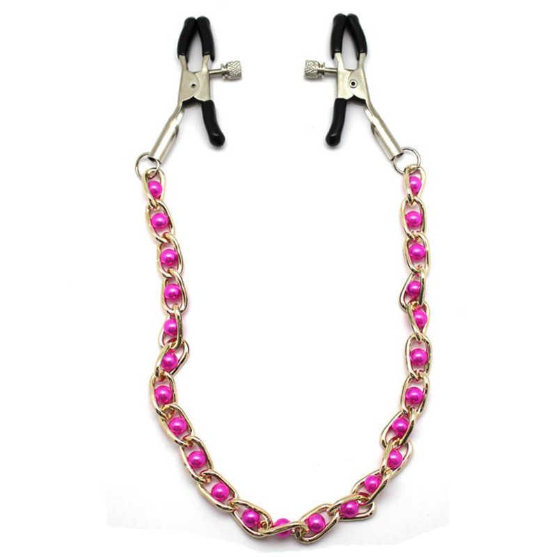 Зажимы для груди с цепочкой и розовыми жемчужинами, регулируемые
