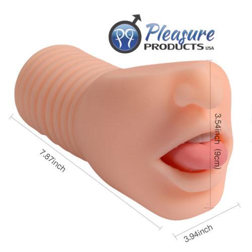 Реалистичный вибро-мастурбатор-ротик с язычком и зубками от компании Shequ, 8 режимов, ТПР,  цвет телесный, 20х10 см