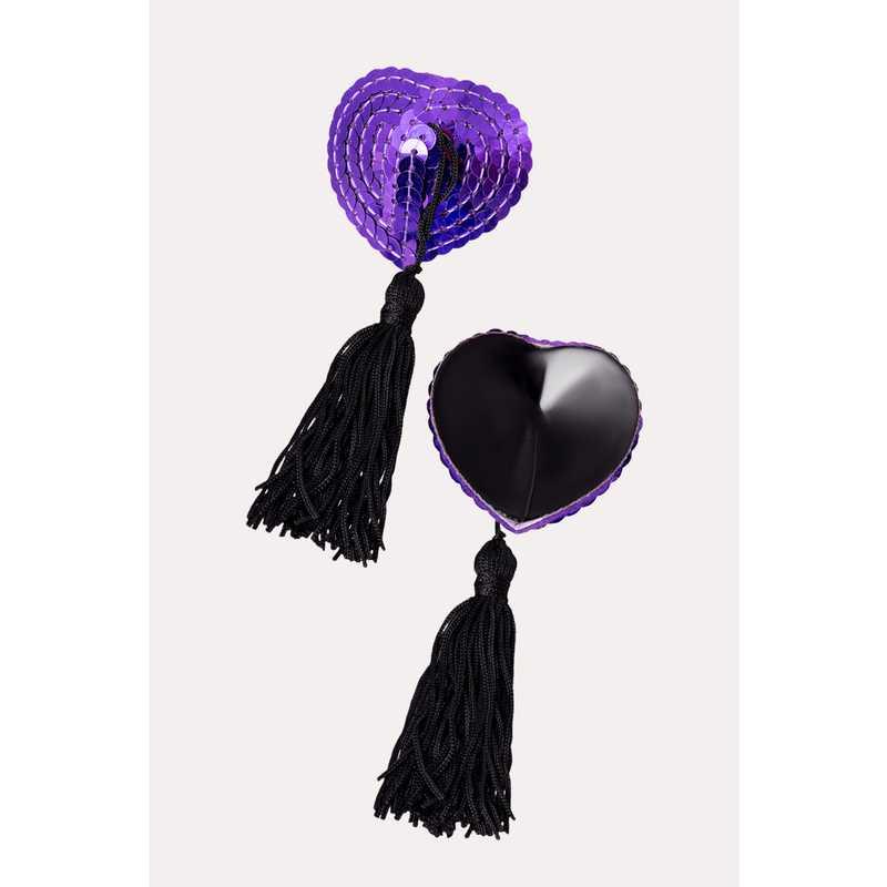 АКЦИЯ 30%! Пэстисы EROLANTA LINGERIE COLLECTION в форме сердец, с кисточками, фиолетовые/черные
