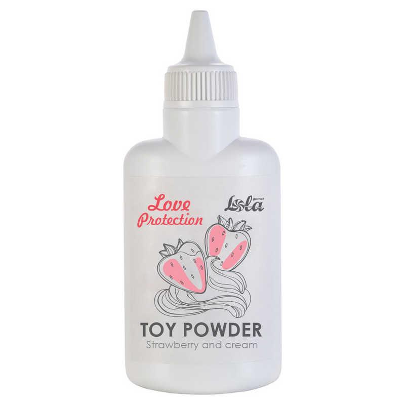 Пудра для игрушек ароматизированная LOVE PROTECTION КЛУБНИКА СО СЛИВКАМИ, 30 гр
