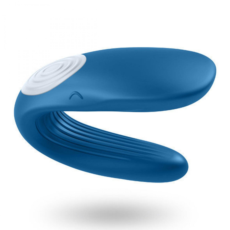 Перезаряжаемый вибромассажер для пар PARTNER  Whale, 2 моторчика, силикон, синий, 9х3,5 см