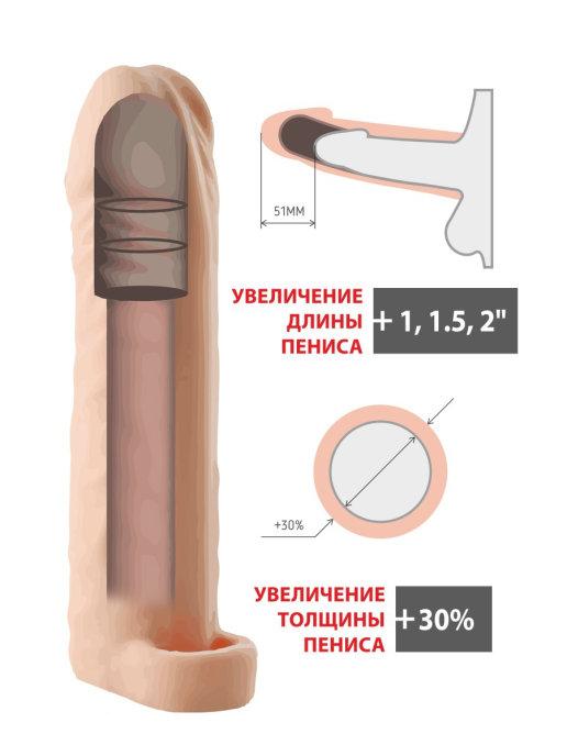 Насадка - удлинитель EXTENTION SLEEVE, эластомер, три вставки разного диаметра, телесная, 17х 4,5 см