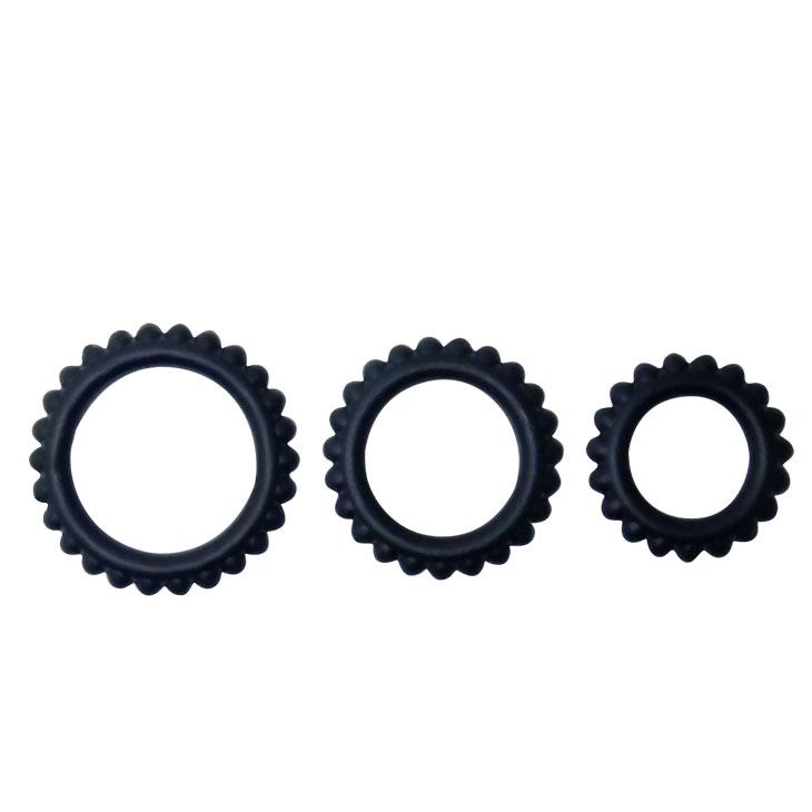 Набор из трёх эрекционных колец TITAN, силикон, черные,3,3x3,8x4,4