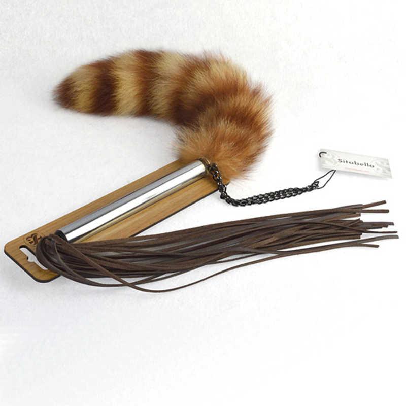 Плеть-щекоталка с натуральным пушистым хвостиком, натуральная кожа, 75 см