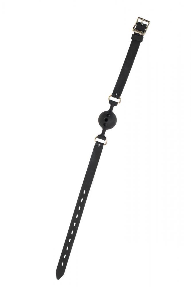 Кляп-шар PARTY HARD CHARMER с отверстиями, силикон, черный, 3,6 см