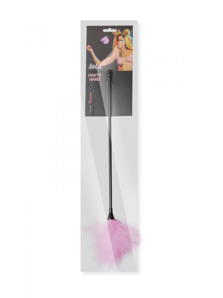 Тиклер PARTY HARD TREASURE PINK с розовыми пушистыми перышками, пластик/перо, 41 см