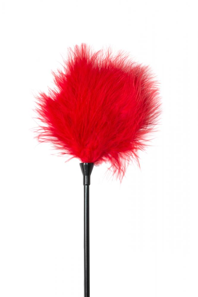 Тиклер PARTY HARD TREASURE RED  с красными пушистыми перышками, пластик/перо, 41 см