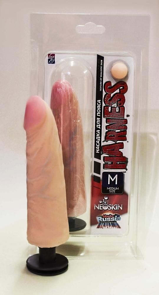 Насадка для страпона HARNESS с коннектром MEDIUM SIZE, кибер-кожа,  17,5х3,8 см