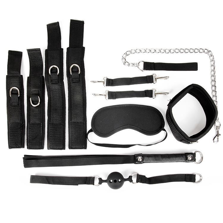 АКЦИЯ 20%!  НАБОР - наручники, оковы, ошейник с поводком, кляп, маска, плеть, цвет - черный