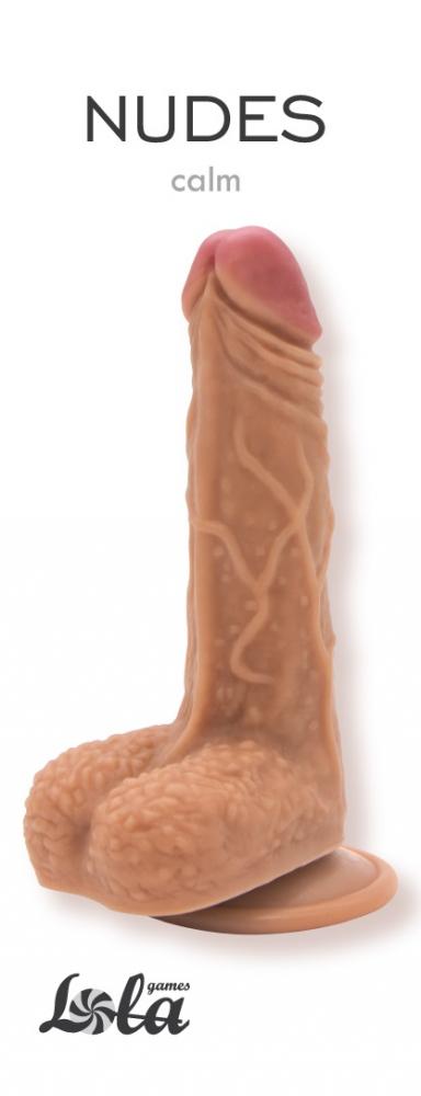 АКЦИЯ 20%! Гибкий фаллоимитатор на присоске NUDES CALM   с мошонкой, ПВХ, 17,5(13 )х3,5 см