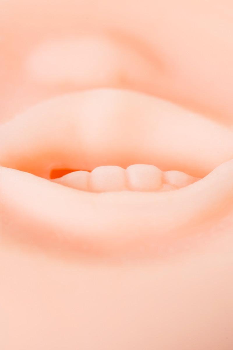 Насадка для помпы SEXUS MEN LITTLE MOUTH в виде ротика с зубками, ТПЕ силикон, телесная, 7,5 см