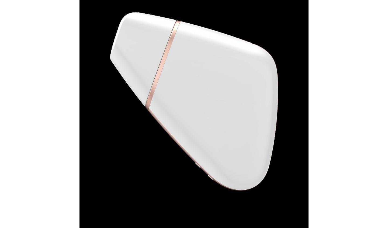 Вакуумный Смарт-Вибромассажер SATISFYER LOVE TRIANGLE WITE 10 режимов вибрации и 11 режимов вакуумной стимуляции, силикон, ABS, белый с золотом, 8,7 x 6,8 x 3,2 см