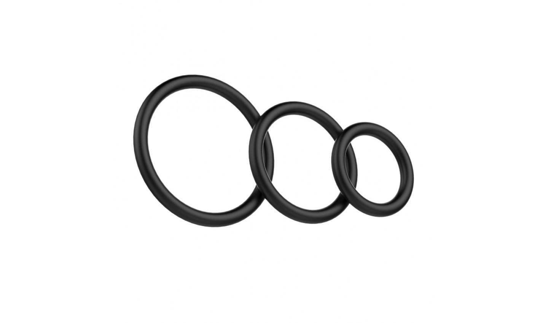 Набор из трех эрекционнных колец, ТПР, цвет - черный, 3,9, 4,9 и 6 см.
