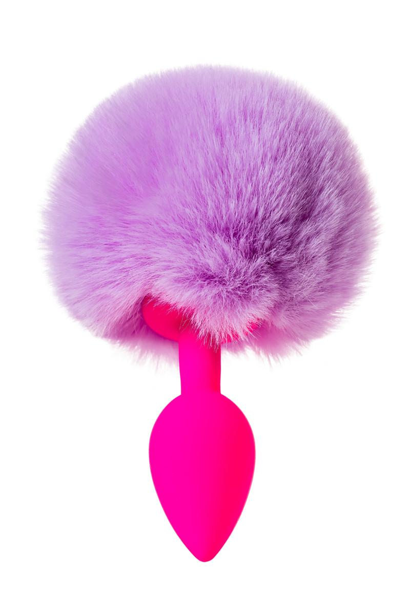 Анальная втулка с хвостиком ToDo SWEET BUNNY, силикон, розово-фиолетовый, 13х2,8 см см