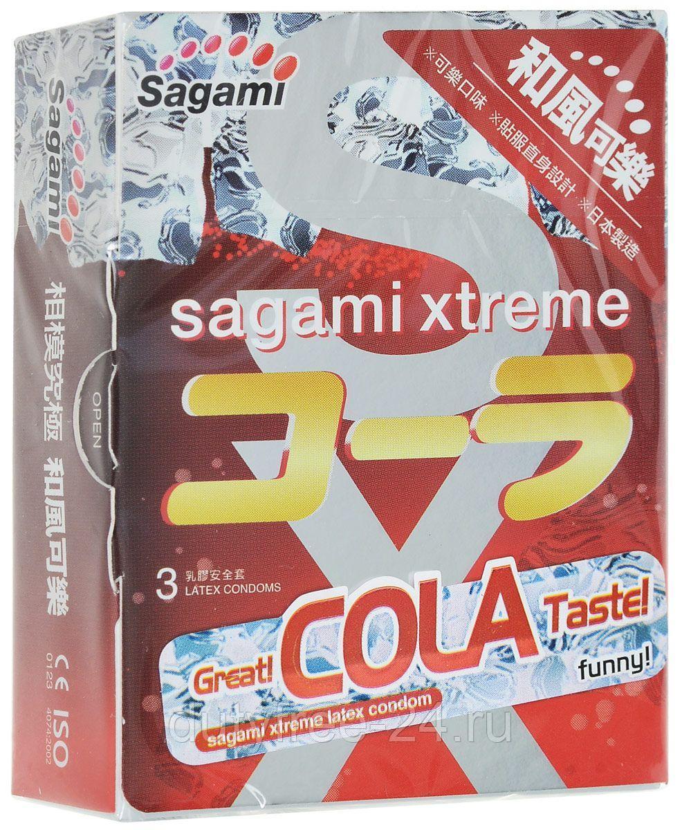 Ультратонкие ароматизированные презервативы SAGAMI XTREME COLA, 3 шт.