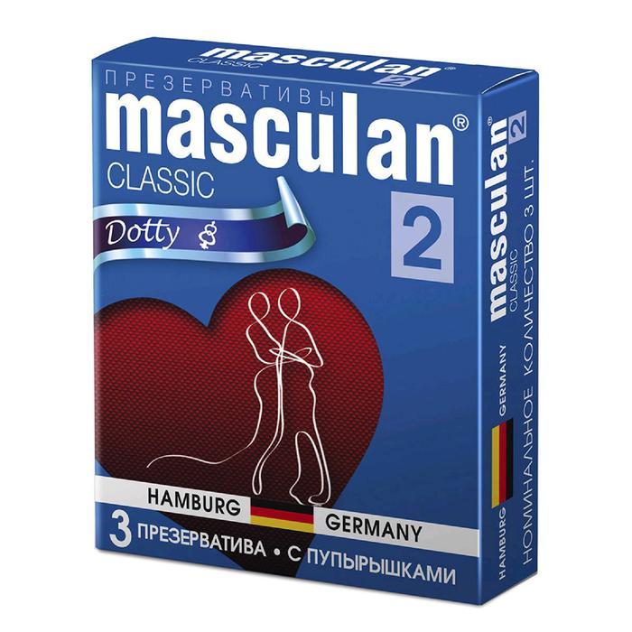 Презервативы MASCULAN 2 CLASSIC (С ПУПЫРЫШКАМИ), 3 штуки