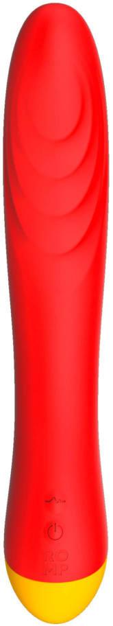 Перезаряжаемый изогнутый  вибратор ROMP HYPE  G-Spot ,  4 режимов вибрации, 6 скоростей, силикон, красный/желтый,21х3,6 см