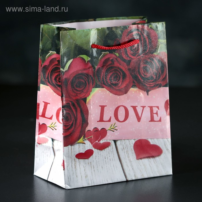 Пакет ламинат  LOVE,  12х15х5 см