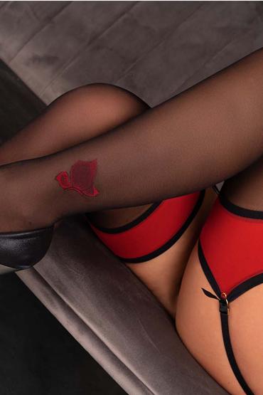 Эффектные чулочки  под пояс MERIVAN LIVIA Corsetti, 20 ден,  черный с красным, разм. S