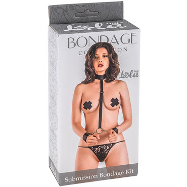 Набор Submission Bondage Kit : ошейник с длинной лентой и отстегивающимися наручниками, полиэстер, черный