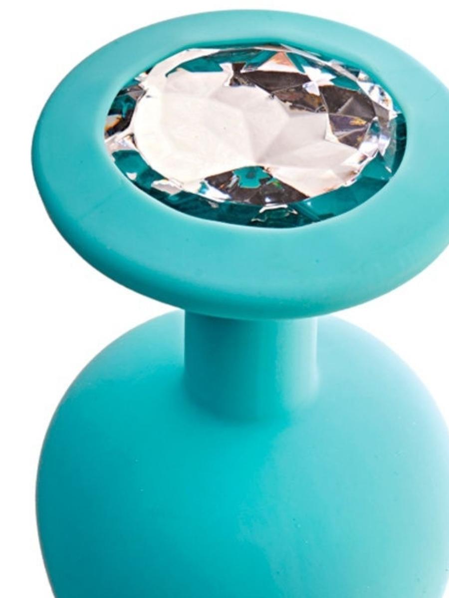 Анальная пробка GAMMA  с белым кристаллом, цвет - аквамарин, разм.S, 7,2(6,8)х2,8 см