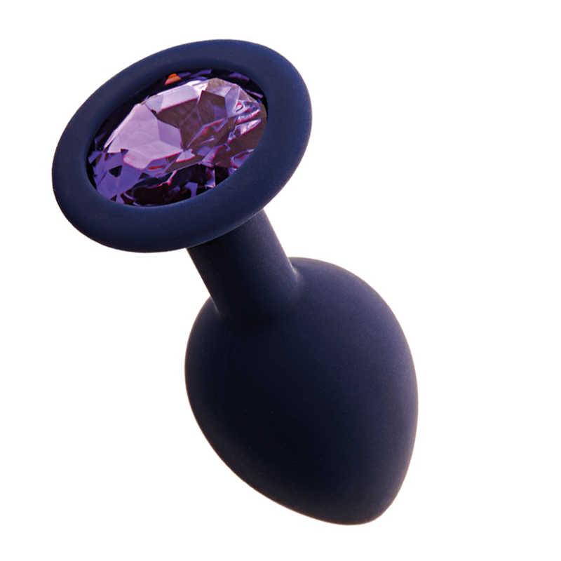 Анальная пробка GAMMA с фиолетовым кристаллом Gamma, цвет - черничный, разм.М,  8,1(7,3)х3,5 см