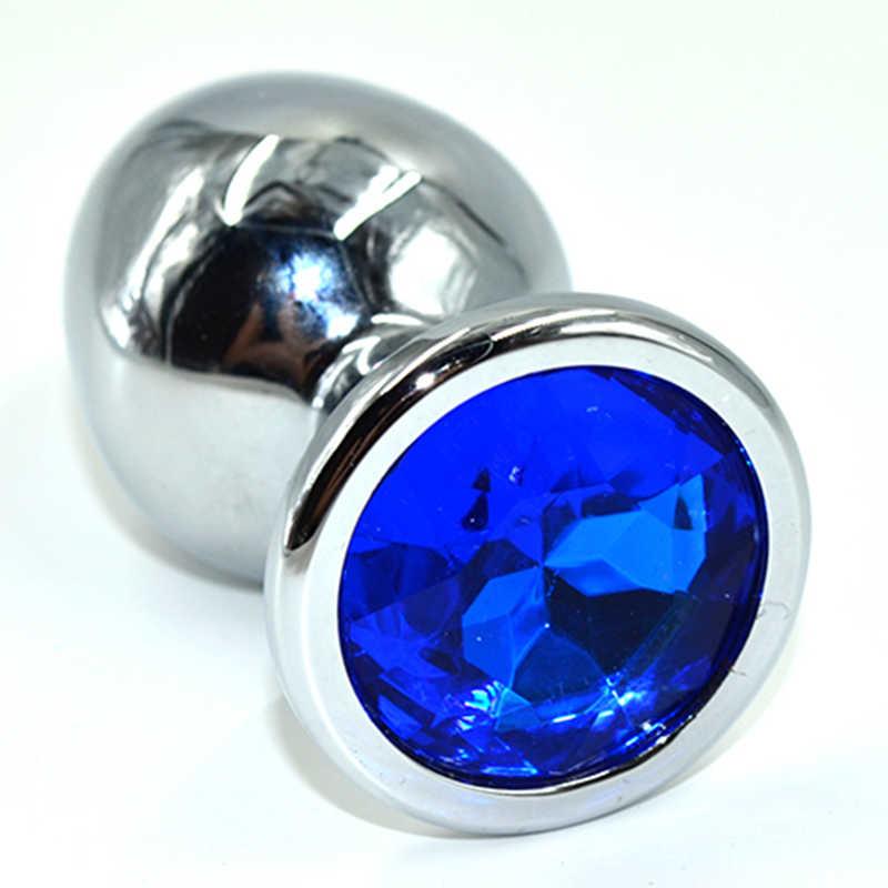 Средняя анальная пробка KANIKULE, с темно-синим кристаллом,   серебристая, 8х3,5 см
