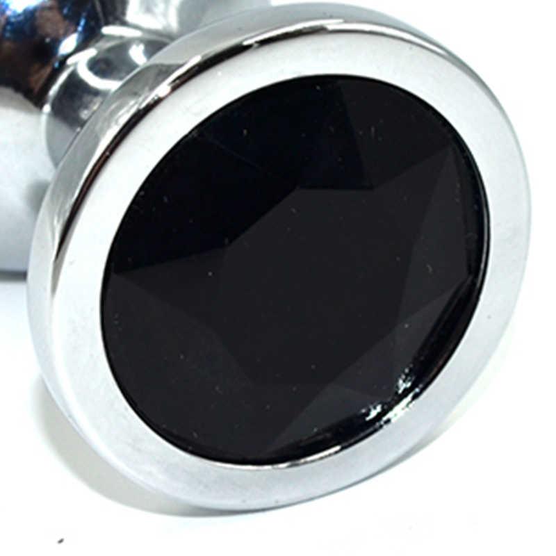 Средняя анальная пробка KANIKULE, с черным кристаллом, серебристая, 8х3,5 см