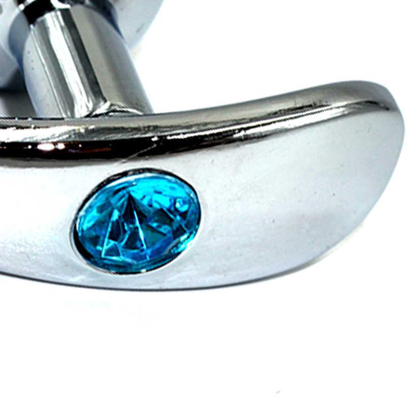 Серебряная анальная пробка для ношения с нежно-голубым кристаллом, Smal, 8х3,3 см