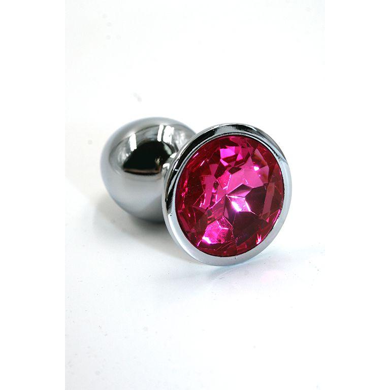 Облегченная серебряная анальная пробка с ярко-розовым кристаллом (Small)