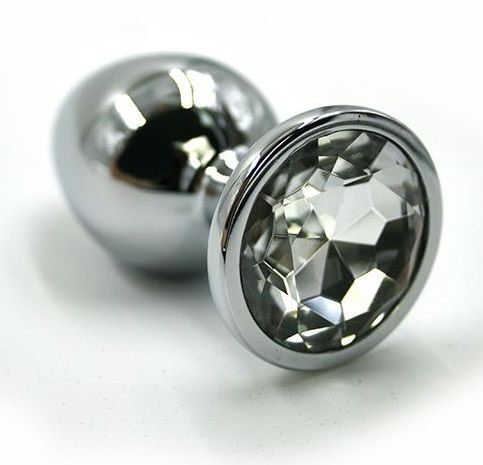 Анальная пробка малая с прозрачным кристаллом, серебристая, 6,5х2,8 см