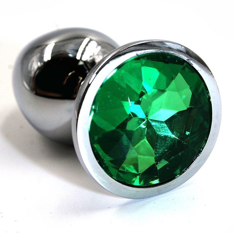 Облегченная серебряная анальная пробка с темно-зеленым кристаллом (Small), 6х2,8 см
