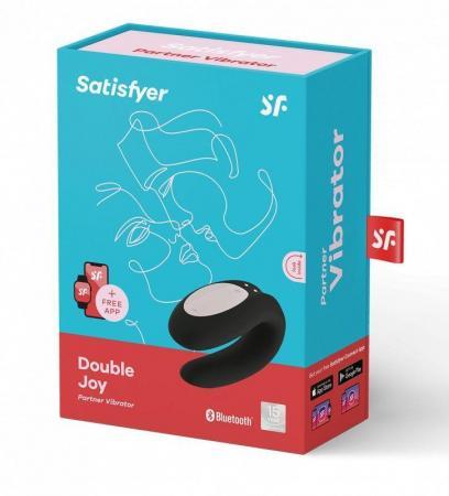 Смарт вибратор для пар SATIISFYER DOUBLE FUN с приложением, и пультом ДУ, 10 режимов, силикон, черный, 9 см