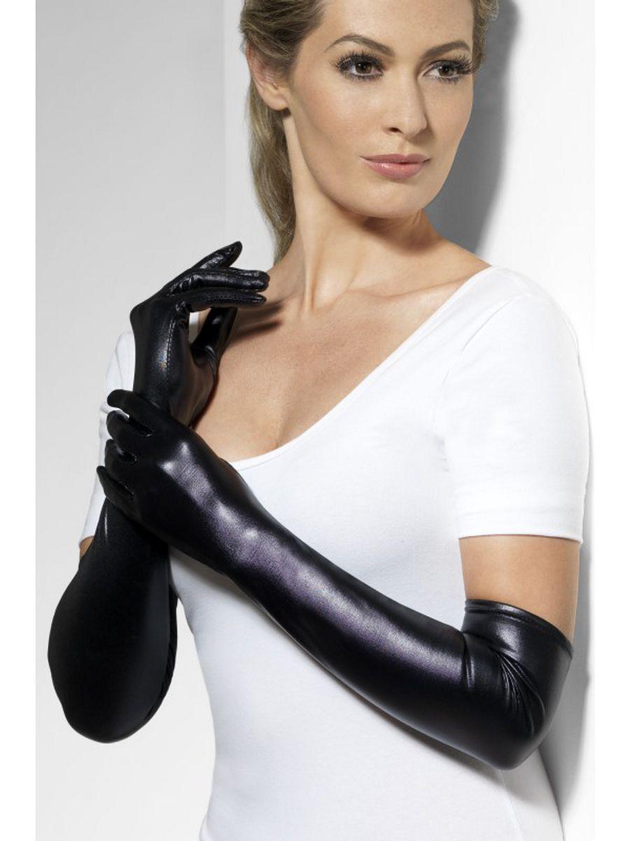 Перчатки Госпожи wet look (Fever), черные