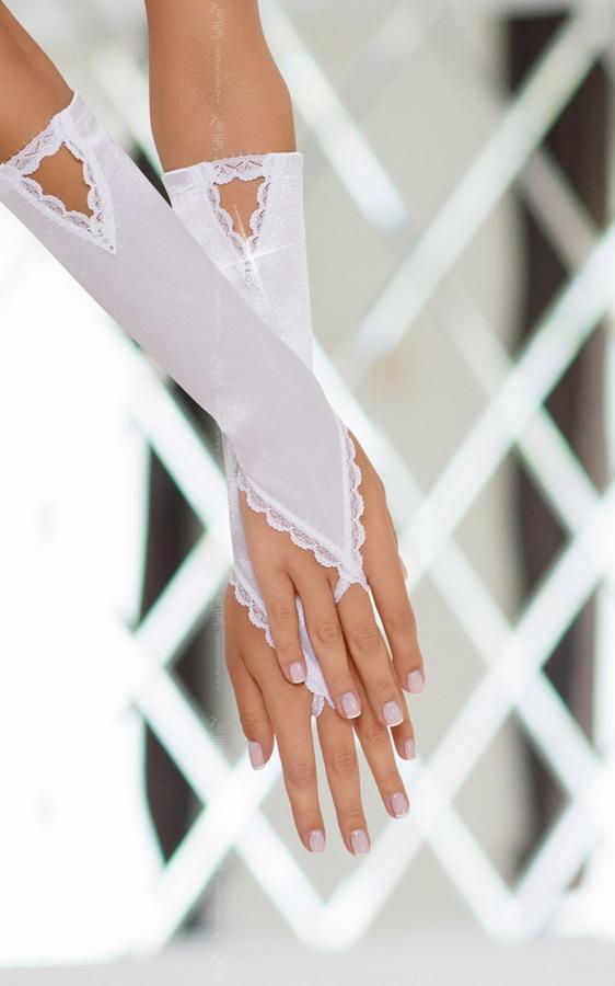 Перчатки   атласные белые, разм. S/L